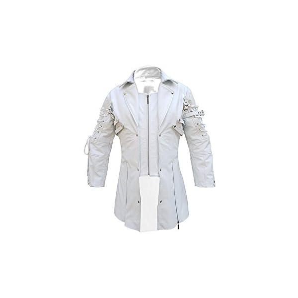 Mens Coat Real White Matrix Trench 100% Real Leather Coat Steampunk Gothic Stylish Design Coat 3