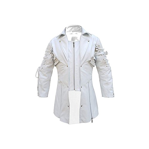 LKT Mens Real White Leather Coat Goth Matrix Trench Coat Steampunk Spooky Gothic Stylish Design (Large)