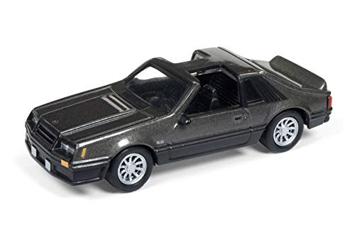 (Round 2 1982 Ford Mustang GT T-Top, Dark Gray JLSP013/24B - 1/64 Scale Diecast Model Toy Car)