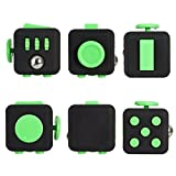 Oliasports Fidget Cube for Fidgeters! relieve Stress, Anxiety, & Boredom for Children & Adults (Black-Green)