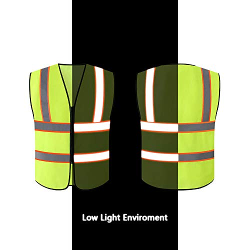 Tekware Safety Vest with High Reflective Strips, Pack of 10 Bright Neon Color Construction Protector with Zipper by Tekware (Image #7)