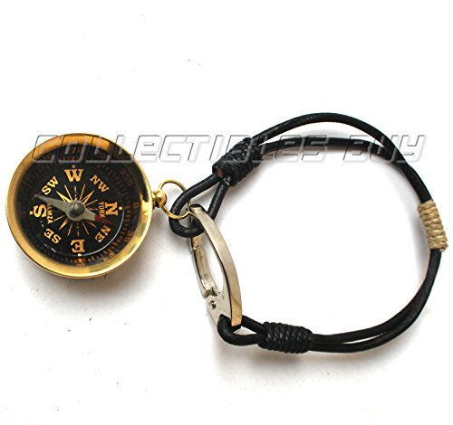 Collectibles Buy Brown Bracelet Compass Leather Cord Vintage Handmade Brass Navigate Article Ship Sailor Compass Nautical Marine Camping Compasses by Collectibles Buy