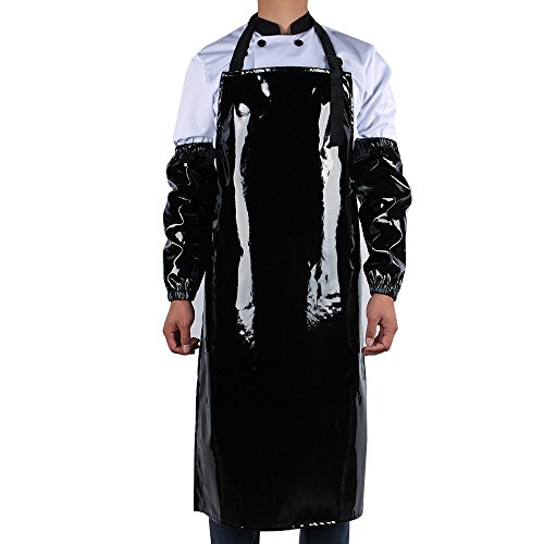 new Work Bib Apron, Utility Apron, Adjustable for Men & Women, Water and Oil Resistant, Multipurpose Use, Black ,Come with 2 Pieces of Sleeve Covers for Free (Black)
