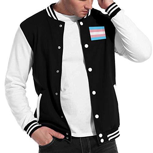 Stylish Unisex Baseball Uniform Jacket Sport Coat Transgender_Pride_Flag Men's Women's Adult Sweatshirt Outwear Black