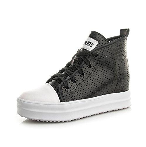 Sportschuhe Schnürschuhe High-Top Sneaker Damenschuhe Schnürsenkel Keilabsatz Sneaker-Wedges Freizeitschuhe Schwarz