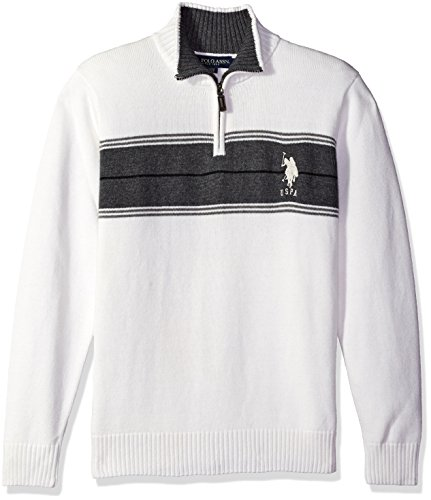 s Chest Stripe 1/4 Zip Sweater, Winter White, Large (1/4 Zip Stripe Sweater)