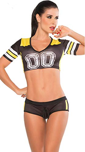 - PRETTYWELL Womens Sexy Football Short Sleeve Shirt Sets Stage Uniform 8891 (Black)