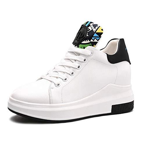 Schwarz B Damenschuhe Schuhe Kleine Athletische erhöhen Ladies Schuhe Exing Deck Fallen Lace weiße Invisible weiß Schuhe up Casual Twdqa6