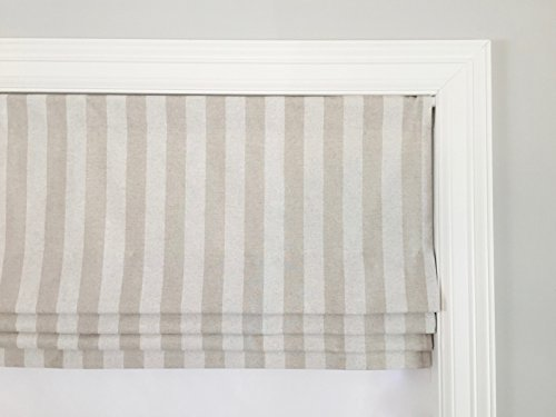 Premier Oatmeal (Faux (Fake) Roman Shade Valance With Lining. Premier Canopy Stripe Blend Cloud/Oatmeal.)
