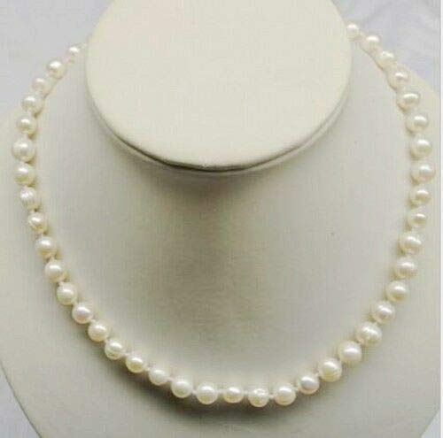 16 Inch Choker Genuine 8-9mm White Pearl Necklace Cultured Freshwater #ID-15 ()