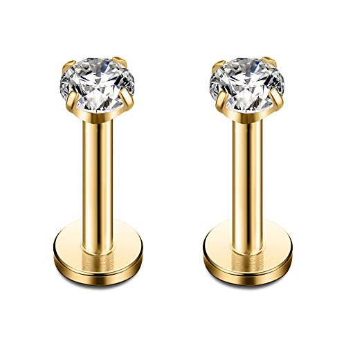 Gold Plated Stainless Steel 3mm Round CZ Gem Internally Threaded Labret Monroe Lip Ring Tragus Nail Helix Earring Stud Barbell Piercing Jewelry 16G 8mm 2pcs