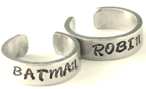 Batman and Robin Inspired Ring Set - Best Friends - Couples Ring Set Personalized Customized