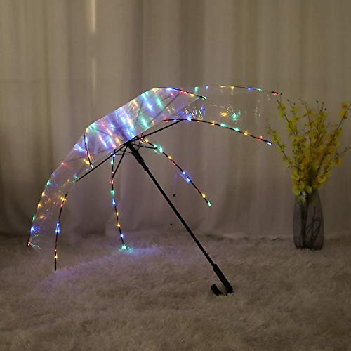 Transparent Umbrella,LED Light Umbrella,an Transparent Clear Umbrella Including Colorful Starry Lights,104 LED Decor Lights for Wedding,Travel,Summer,Night
