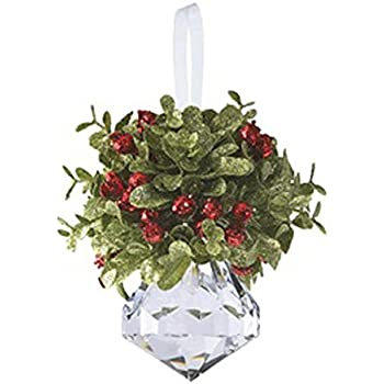 kissing krystal acrylic christmas mistletoe ornament with hanger