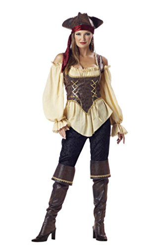 [Incharacter Womens Rustic Pirate Corset Gold Theme Party Halloween Costume, XL (16-18)] (Pirate Theme Party Costumes)