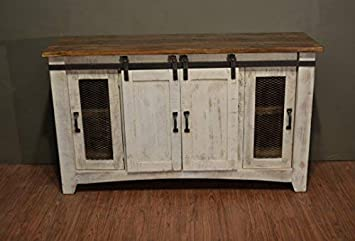 Crafters and Weavers Granville White 60 TV Stand Sideboard Console Table with Sliding Doors