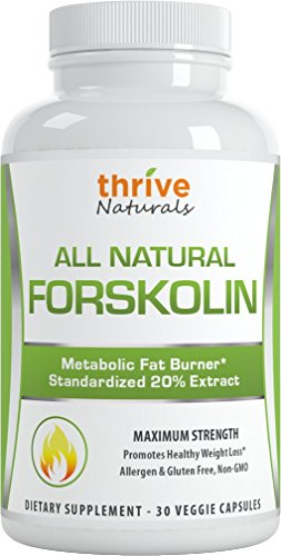 - Thrive Naturals Forskolin Advanced * 100% Pure and Natural Forskohlii Extract * Promotes fat burning targeting belly fat * Helps improve metabolism * Helps support lean muscle, while burning stored fats in fatty cells * Promotes healthy weight loss for all body types * Vegetarian Capsules * No Synthetic Fillers or Binders * No Magnesium Stearate * No Gluten * Proudly Made in USA (1 Bottle)