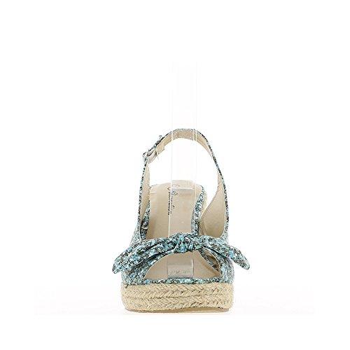 Sandales compensées vertes avec motifs à talon de 9,5cm et plateau avec noeud