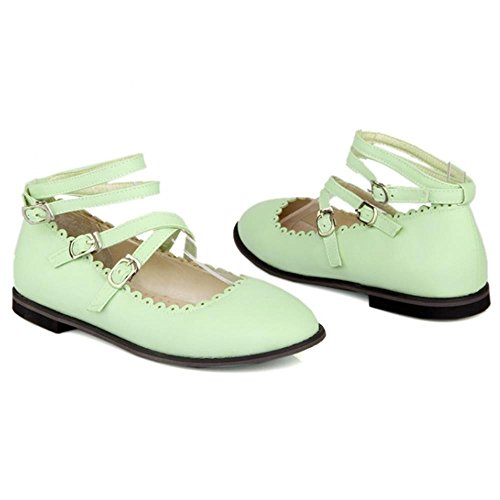 COOLCEPT Sweet Pumps Ankle Strap Flat Pumps Girls Court Shoes Green r7Iar3Lpp
