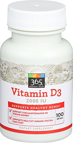 365 Everyday Value, Vitamin D3 2000 IU, 100 ct