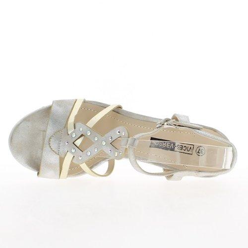 Sandales silver à talons de 12,5cm et plateau de 3cm avec strass