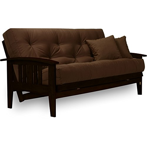 Westfield Complete Futon Set - Espresso Finish (Warm Black) - Full or Queen Size, Mission Style Wood Futon Frame with Mattress Included (Pet Friendly Microfiber Fudge), More Mattress Colors Available (Modern Frame Bedroom Futon)