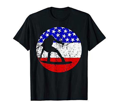 Wakeboarding Retro Wakeboarder American Flag T-Shirt