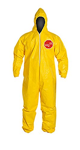 - DuPont Tychem 2000 QC127S Disposable Chemical Resistant Coverall with Hood, Elastic Cuff and Serged Seams, Yellow, Medium (Pack of 12)