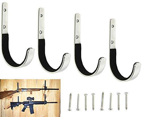 MENG ZHI AO 4 Pcs Set Gun Rack Stainless Steel Wall Mount Storage Gun Rack Shotgun Hooks Rifle Hangers