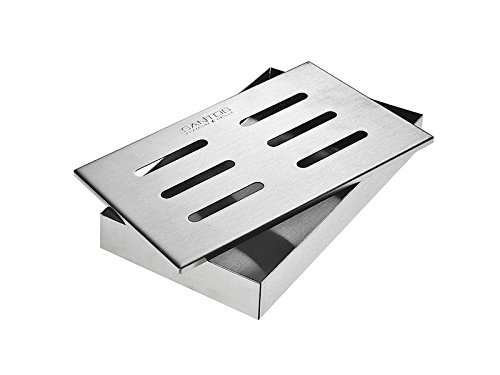 Santos Smoker box in acciaio INOX barbecue Smoker box per barbecue a gas grill – barbecue grill e barbecue sapore box 21 x 13 x 3, 4 cm