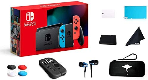 Switch 32GB Console Video Games Joy-Con w/GM 69 Value 13in1 Supper Kit Case (Earphone, LCD Film, Card Case, Silicon Case x 2pcs, Carry Bag, Wiping Cloth and many others.) (Blue and Red)
