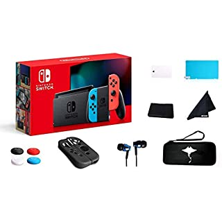 """Newest Switch with Neon Blue and Neon Red Joy-Con - 6.2"""" Touchscreen LCD Display, Built-in Speakers, 802.11ac WiFi, Bluetooth- 69 Value 13-in-1 Supper Kit Case"""
