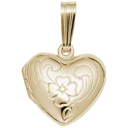 Gold Plated Locket Charm, Charms for Bracelets and Necklaces (Brooch Locket Gold Plated)