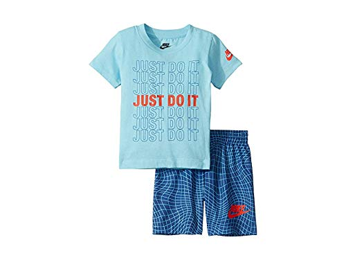 Nike Kids Baby Boy's Just Do It Tee and Shorts Set (Toddler) Indigo Force 4T