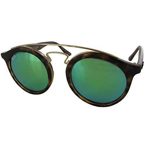 Ray-Ban INJECTED UNISEX SUNGLASS - MATTE HAVANA Frame GREEN MIRROR GREEN Lenses 46mm Non-Polarized by Ray-Ban