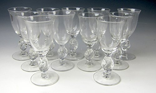 - Lot of 11 Imperial Glass TWIST CLEAR Cordials EXCELLENT