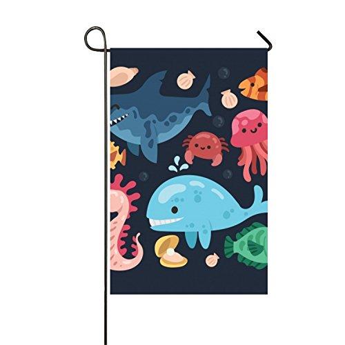 Cool Pack Of Smiley Sea Animals Seasonal Garden Flag, Double