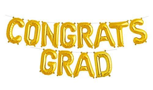 Supoice Gold Congrats Grad Balloons 16 Inch Graduation Balloons for Graduation Party Supplies]()