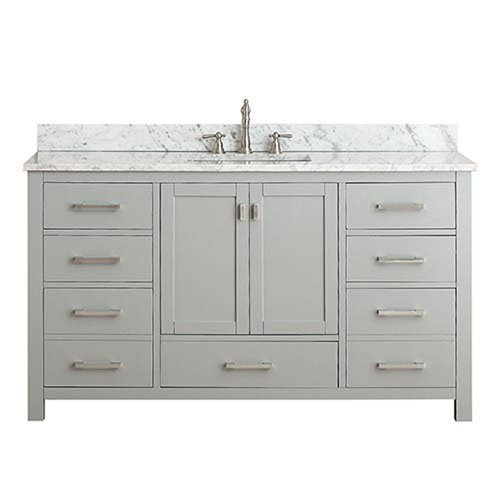 251 First Nicollet Chilled Gray 60-Inch Single Vanity Combo with White Carrera Marble Top