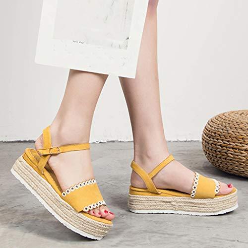 Plataforma Verano 2019 Plataformas Correa Punta Abierta Shoes Amarillo Mujer Med De Hebilla Casual Logobeing Heel Sandalias IEwqdCC