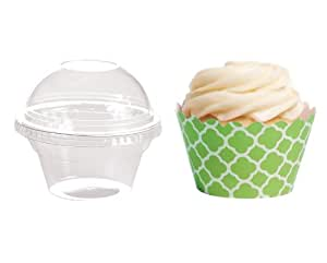 Dress My Cupcake DMC27543 Favor Dome Containers with Wrappers Diy Kit, Kiwi Green Spanish Tile, Set of 25