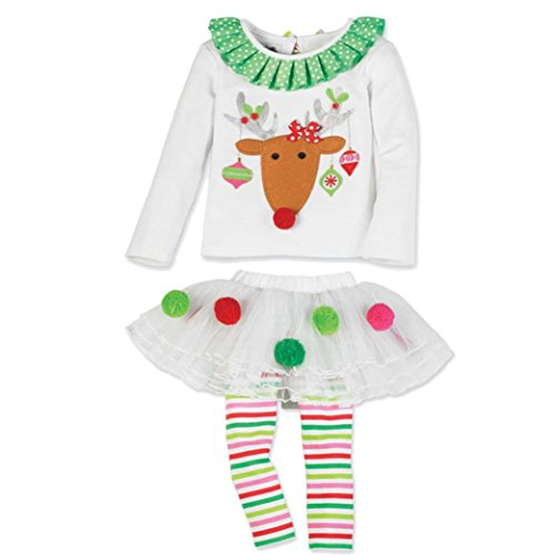 kaifongfu Kids Outfits Set,Christmas Baby Girl Deer T Shirt Tops+Striped Tulle Tutu Pants (White A, 90♣Size:24M)