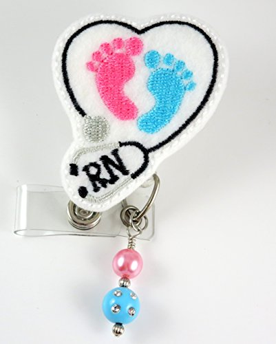 Baby Feet RN Heart Stethoscope - Nurse Badge Reel - Retractable ID Badge Holder - Nurse Badge - Badge Clip - Badge Reels - Pediatric - RN - Name Badge Holder