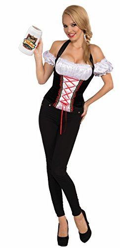 Forum Beer Garden Corset Top, Black, One Size Costume - German Costumes For Girls