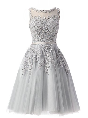 ASBridal A line Tulle Prom Dresses Short Appliques Evening Prom Party Gowns Silver US 16W - Miranda Ivory Prom Dress