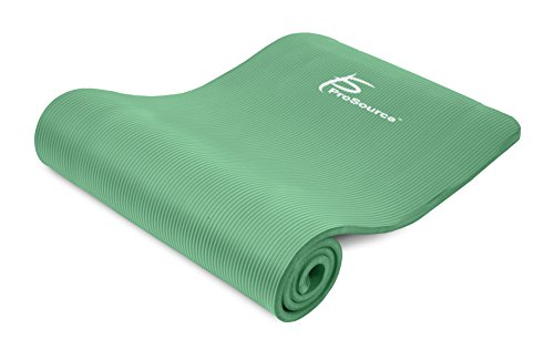 ProSource Premium 1/2 Inch Extra Thick 71 Inch Long High Density Exercise Yoga Mat with Comfort Foam and Carrying Straps, Green, Frustration Free Packaging