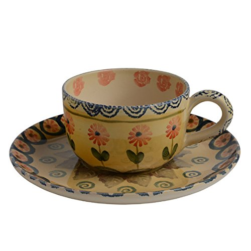 Flowers Espresso Cup - Festa Flower Espresso Cup and Saucer - Italian Dinnerware - Handmade in Italy