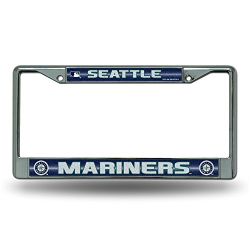 Rico MLB Seattle Mariners Bling License Plate Frame, Chrome, 12 x 6-Inch