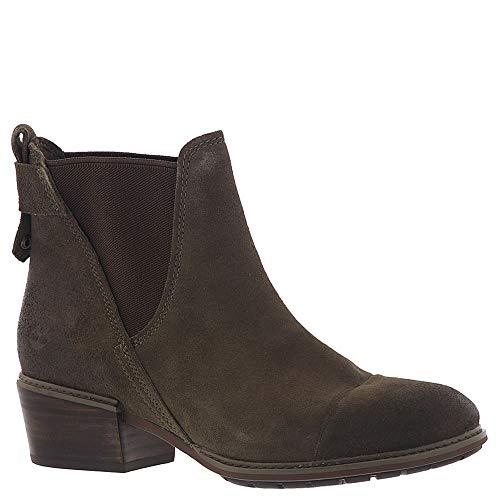(Timberland Women's Sutherlin Bay Double Gore Chelsea Olive Suede 9 B US)