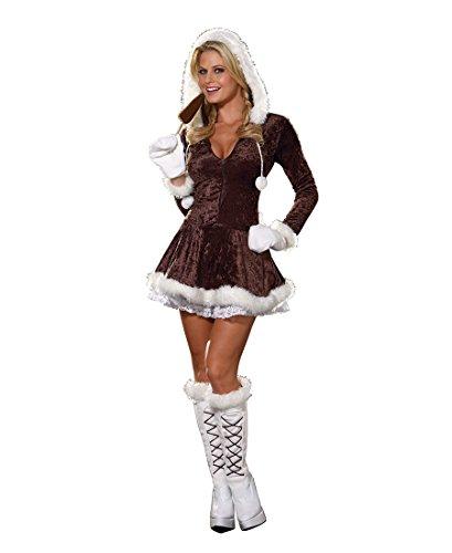 Dreamgirl 4550 Eskimo Cutie Costume - X-Small - Brown/White ()